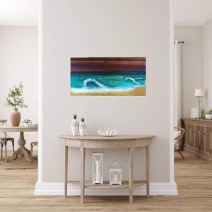 Tenger hullámai akril festmény, Otthon & Lakás, Dekoráció, Falra akasztható dekor, Képeimmel elsősorban a színek és a struktúra világában kalandozom. Sok mindent festek, kísérletezek ..., Meska