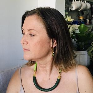 Minimál fonal nyakék új kollekció  zöld arany, Ékszer, Nyaklánc, Medál nélküli nyaklánc, Most készült el a minimàl kollekció , mely. nem csíkos, nem tarkabarka, hanem egy szînű,  az eleganc..., Meska