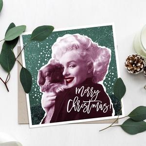 MARI karácsonyi képeslap - vintage, Otthon & lakás, Képzőművészet, Illusztráció, Fotó, grafika, rajz, illusztráció, Vintage karácsonyi képeslap - Merry Christmas felirattal - Marylin Monroeval és kiskutyájával, csajo..., Meska