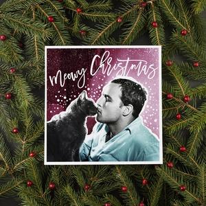 MIJAU vintage karácsonyi képeslap, Karácsonyi képeslap, Karácsony & Mikulás, Otthon & Lakás, Fotó, grafika, rajz, illusztráció, Vintage stílúsu csajos képeslap, egyedi grafikával. Ajándéknak, kis meglepésnek tökéletes. Marlon Br..., Meska