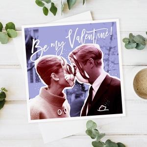 VALENTINE vintage képeslap, Otthon & lakás, Képzőművészet, Illusztráció, Fotó, grafika, rajz, illusztráció, Vintage stílúsu csajos képeslap, egyedi grafikával. Ajándéknak, kis meglepésnek tökéletes. Audrey He..., Meska
