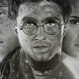 Harry Potter rajz, Művészet, Portré & Karikatúra, Portré, Festészet, Fotó, grafika, rajz, illusztráció, Harry Potter A3-as grafit rajz. Eredeti, nem csak másolat. , Meska