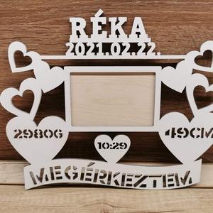 Születési emlék , Otthon & Lakás, Dekoráció, Képkeret, Famegmunkálás, Saját készítésű 3mm-es nyír rétegelt lemezből készült.\nMérete:30x25 cm-es, 9x13-as kép való a keretb..., Meska