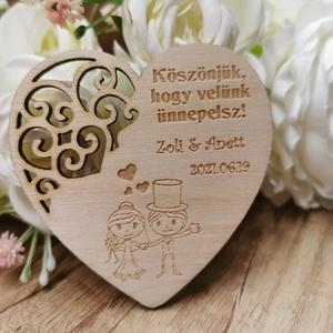 Esküvői mágneses köszönő ajándék , Esküvő, Emlék & Ajándék, Köszönőajándék, Famegmunkálás, 3mm-es rétegelt lemezből készült natúr, csiszolt, mágneses köszönő ajándék \nMérete:8x8cm, Meska