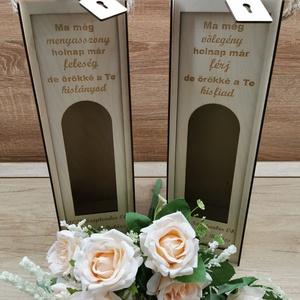 Esküvői köszönő ajándék , Esküvő, Emlék & Ajándék, Köszönőajándék, Famegmunkálás, 3mm-es rétegelt lemezből készült, natúr csiszolt felülettel. \nA neveket és dátumot üzenetben tudod m..., Meska