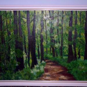 Út az erdőben, Képzőművészet, Otthon & lakás, Festmény, Festészet, Út az erdőben készült festmény egyedi alkotás.\nOlajfesték technikával készült farost alapra bekerete..., Meska