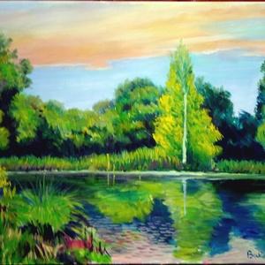 Napnyugta a tónál, Képzőművészet, Otthon & lakás, Festmény, Festészet, A Napnyugta a tónál című tájkép egyedi alkotás olajfesték technikával festővászonra festve.\negy erde..., Meska