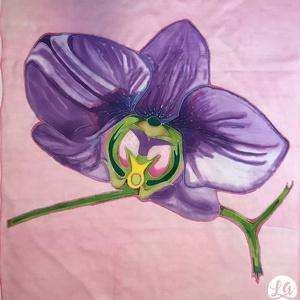 Orchidea kendő, Kendő, Sál, Sapka, Kendő, Ruha & Divat, Selyemfestés, Ez az orchideát ábrázoló kendő egy kis vidámságot csempész a szürke, téli hétköznapokba. Körvonalát ..., Meska