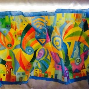 Hundertwasser ihletésű selyemsál, Táska, Divat & Szépség, Sál, sapka, kesztyű, Ruha, divat, Selyemfestés, A képen látható színes, vidám selyemsál elkészítéséhez Hundertwasser képei adtak ötletet.\n\nA képen l..., Meska