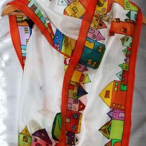 Hundertwasser ihlette selyemsál, Táska, Divat & Szépség, Sál, sapka, kesztyű, Ruha, divat, Sál, Selyemfestés, A képen látható színes, vidám selyemsál elkészítéséhez Hundertwasser képei adtak ötletet. \nVettem há..., Meska