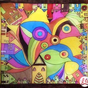 Hundertwasser ihlette selyemkendő (négyzet alakú) (LauAni) - Meska.hu