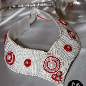 Piros-fehér menyasszonyi sujtás nyakék (LauAni) - Meska.hu