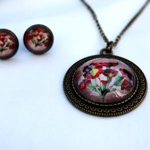 Apró virágok üveglencsés ékszerszett (LauAni) - Meska.hu