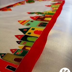 Hundertwasser ihlette selyemsál - piros, Táska, Divat & Szépség, Sál, sapka, kesztyű, Ruha, divat, Sál, Selyemfestés, A képen látható színes, vidám selyemsál elkészítéséhez Hundertwasser képei adtak ötletet. A sál mint..., Meska