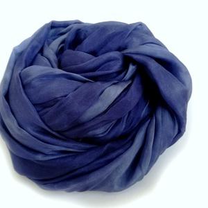 Kék kékkel selyemsál stóla méretben (laudehandmade) - Meska.hu