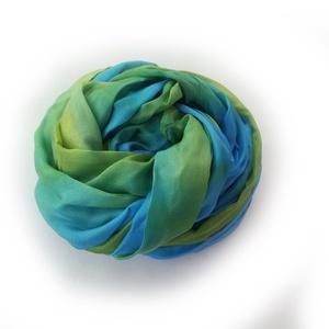 zöld+türkiz selyemsál , Táska, Divat & Szépség, Női ruha, Ruha, divat, Selyemfestés, Ragyogó, élénk színű sál - ezúttal egy különleges türkiz-zöld párossal:-)...Tisztaselyem, kb. 40x150..., Meska