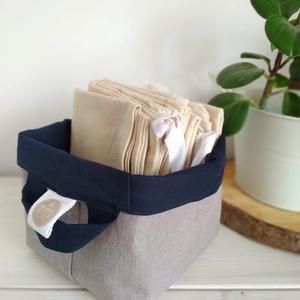 Textil tároló - kék, NoWaste, Bevásárló zsákok, zacskók , Textilek, Textil tároló, Otthon & lakás, Lakberendezés, Tárolóeszköz, Doboz, Varrás, .mérete 15x15x21 cm\n.multifunkciós termék\n.kifordítható, mindkét oldal használható\n.felakasztható\n.l..., Meska