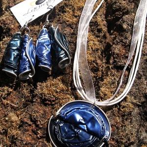 Nespresso kávékapszula újrahasznosított ékszerszett kék színben (Laurato) - Meska.hu