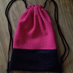 Hátizsák, Táska, Divat & Szépség, Táska, Hátizsák, Varrás, Textilbőrből és strukturált felületű anyagból készült hátizsák. Színe fekete, sötét rózsaszín( pink)..., Meska