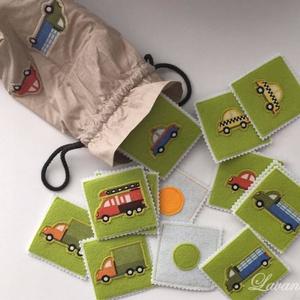 Filc memória és amőba játék textilzsákban , Gyerek & játék, Játék, Társasjáték, Logikai játék, Varrás, 2in1-ben filc-textil memória- és amőbajáték. :)\nA 16db-os (+ 1 pár :) ) csomagban a kártyák mérete 8..., Meska