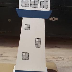 Világítótorony álló sötétkék - fehér, Otthon & lakás, Dekoráció, Dísz, Festészet, Famegmunkálás, Tömör fenyőfa, kézzel készített és festett. Mérete: 63 cm magas és 24 cm széles., Meska