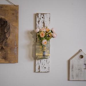 Vintage fali dekoráció (led és virág nélkül), Otthon & lakás, Dekoráció, Dísz, Famegmunkálás, Festészet, Kézzel készített lakásdekoráció Vintage stílusban.  A led és a virágcsokor csak dekoráció!, Meska