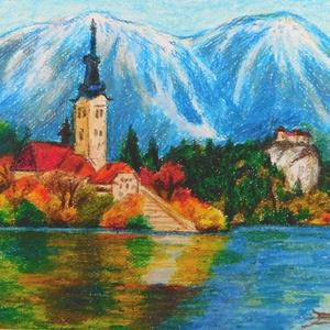 Bledi-tó - olajpasztell kép, Képzőművészet, Otthon & lakás, Festmény, Pasztell, Lakberendezés, Fotó, grafika, rajz, illusztráció, 30x24 cm méretű minőségi művészpapírra készült olajpasztell kép. Keret nélküli, így az otthonodba le..., Meska