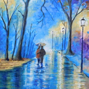 Séta az esőben - akril festmény, Képzőművészet, Otthon, lakberendezés, Festmény, Falikép, Festészet, 30x40 cm méretű feszített vászonra készült akril festmény. Keretezést nem igényel, azonnal a falra ..., Meska