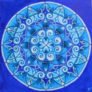Belső béke mandala - akril festmény, Képzőművészet, Otthon & lakás, Festmény, Lakberendezés, Falikép, Dekoráció, Kép, Akril, Festészet, 40x40 cm méretű feszített vászonra készült akril festmény. Keretezést nem igényel, azonnal a falra h..., Meska