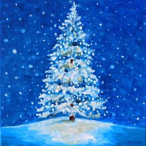 Mesefenyő - akril festmény, Képzőművészet, Otthon & lakás, Festmény, Karácsony, Ünnepi dekoráció, Dekoráció, Karácsonyi dekoráció, Akril, Festészet, 20x20 cm méretű feszített vászonra készült akril festmény. Keretezést nem igényel, azonnal a falra h..., Meska