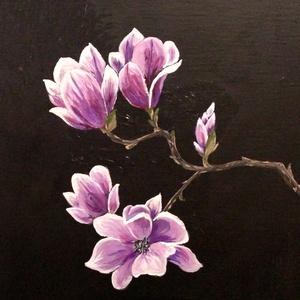 Magnolia - akril festmény, Akril, Festmény, Művészet, Festészet, 24x30 cm méretű feszített vászonra készült akril festmény. Keretezést nem igényel, azonnal a falra h..., Meska