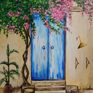 Mediterrán ajtó - akril festmény - Meska.hu