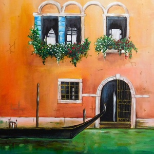 Velence - akril festmény, Akril, Festmény, Művészet, Festészet, 30x40 cm méretű feszített vászonra készült akril festmény. Keretezést nem igényel, azonnal a falra h..., Meska
