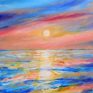 Naplemente a tengeren - akril festmény, Akril, Festmény, Művészet, Festészet, 30x24 cm méretű feszített vászonra készült akril festmény. Keretezést nem igényel, azonnal a falra h..., Meska