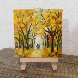 Őszi erdő - miniatúra állvánnyal, Otthon & lakás, Képzőművészet, Festmény, Lakberendezés, Dekoráció, Kép, Akril, Asztaldísz, Festészet, 6x6 cm méretű feszített vászonra készült mini akril festmény, állvánnyal. Az állvány stabil, 12 cm m..., Meska