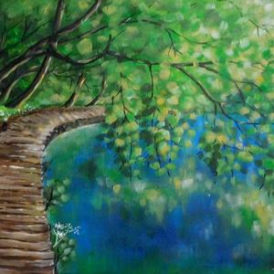 AKCIÓS! Plitvice - akril festmény, Akril, Festmény, Művészet, Festészet, 40x30 cm méretű feszített vászonra készült akril festmény. Keretezést nem igényel, azonnal a falra h..., Meska