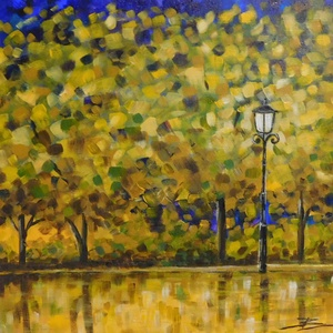 Aranyerdő - akril festmény, Akril, Festmény, Művészet, Festészet, 30x30 cm méretű feszített vászonra készült akril festmény. Keretezést nem igényel, azonnal a falra h..., Meska