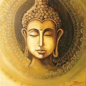 Arany Buddha - akril festmény, Akril, Festmény, Művészet, Festészet, 40x40 cm méretű feszített vászonra készült akril festmény. \nKeretezést nem igényel, azonnal a falra ..., Meska