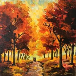 Őszi erdő - akril festmény, Akril, Festmény, Művészet, Festészet, 30x30 cm méretű feszített vászonra készült akril festmény. Keretezést nem igényel, azonnal a falra h..., Meska