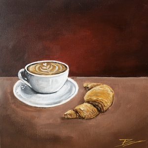 Coffee time - akril festmény, Művészet, Akril, Festmény, 30x30 cm méretű feszített vászonra készült akril festmény. Keretezést nem igényel, azonnal a falra h..., Meska