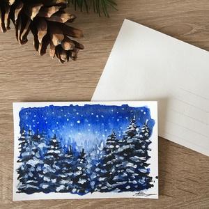 AKCIÓ! Kézzel festett téli képeslap - nem print! - Meska.hu