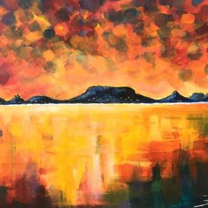 Balatoni nyár - akril festmény, Akril, Festmény, Művészet, Festészet, 40x30 cm méretű feszített vászonra készült akril festmény. Keretezést nem igényel, azonnal a falra h..., Meska