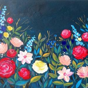Nagyi kertje - akril festmény, Művészet, Akril, Festmény, 40x30 cm méretű feszített vászonra készült akril festmény. Keretezést nem igényel, azonnal a falra h..., Meska
