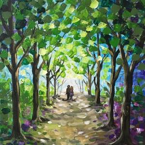 Erdei séta - akril festmény, Művészet, Festmény, Akril, Festészet, 25x30 cm méretű feszített vászonra készült akril festmény. Keretezést nem igényel, azonnal a falra h..., Meska