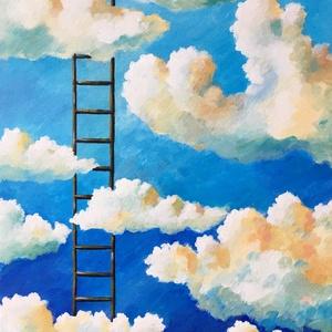 Felhők felett - akril festmény, Művészet, Festmény, Akril, Festészet, 40x30 cm méretű feszített vászonra készült akril festmény. Keretezést nem igényel, azonnal a falra h..., Meska