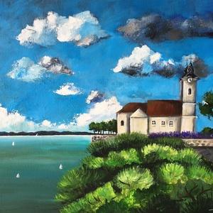 AKCIÓ! Tihany - akril festmény, Művészet, Festmény, Akril, 50x40 cm méretű feszített vászonra készült akril festmény. Keretezést nem igényel, azonnal a falra h..., Meska