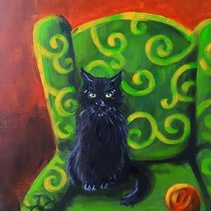 Zöld fotel - akril festmény - Meska.hu