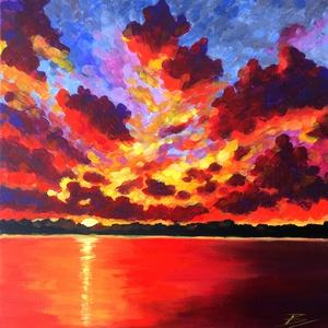 Naplemente a tónál - akril festmény, Művészet, Festmény, Akril, 30x30 cm méretű feszített vászonra készült akril festmény. Keretezést nem igényel, azonnal a falra h..., Meska