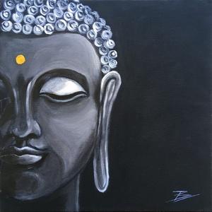 Buddha - akril festmény, Művészet, Festmény, Akril, 30x30 cm méretű feszített vászonra készült akril festmény.  Keretezést nem igényel, azonnal a falra ..., Meska