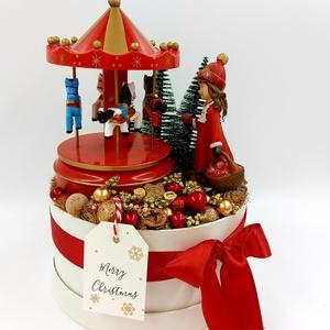 Piros arany karácsonyi asztaldísz, Karácsony, Karácsonyi lakásdekoráció, Ünnepi asztaldekoráció, Virágkötés, Meska